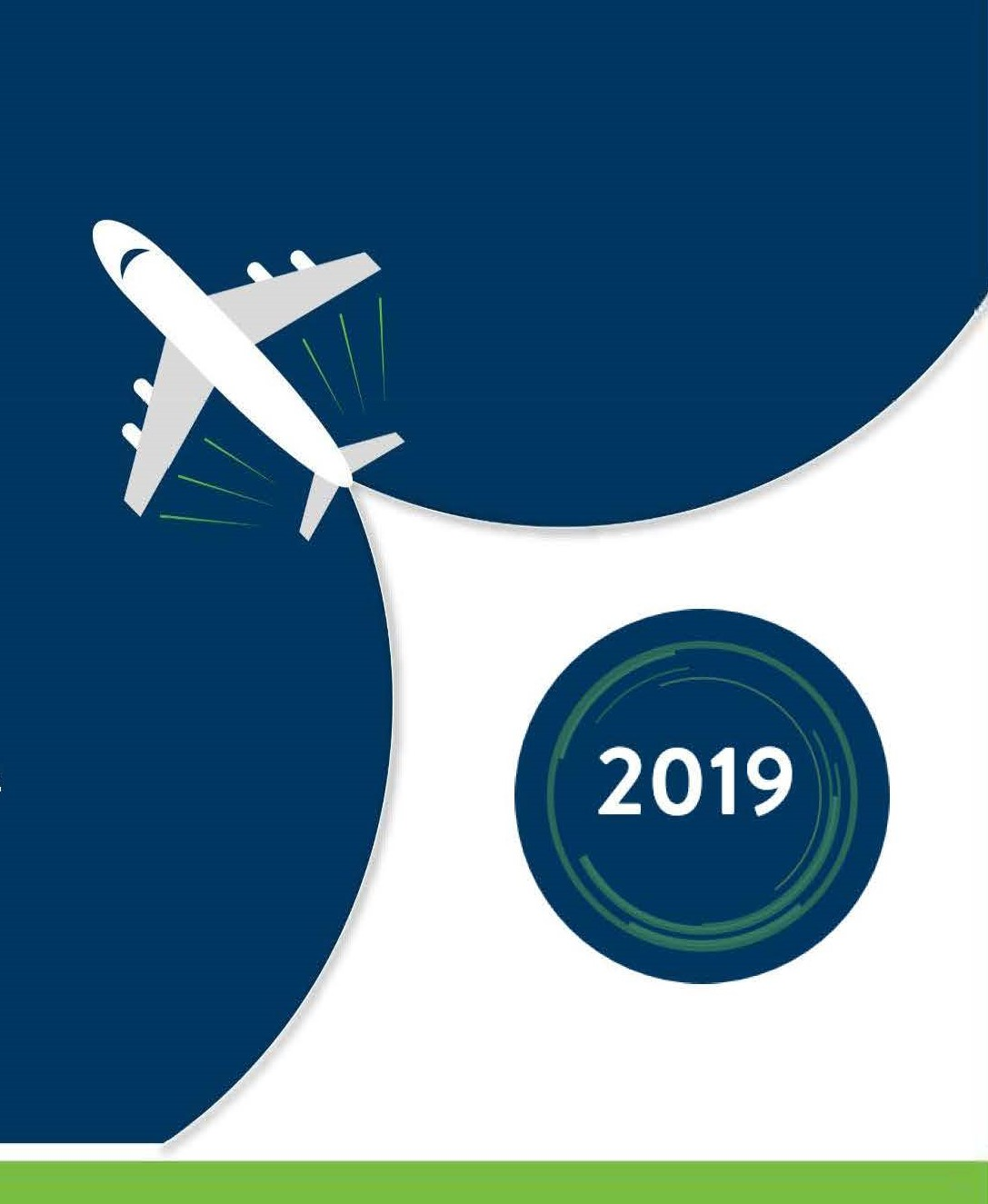 "Animation of airplane from above with ""2019"" behind it"
