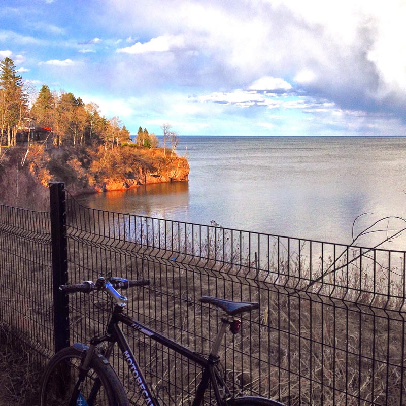 Bike route next to Lake Superior