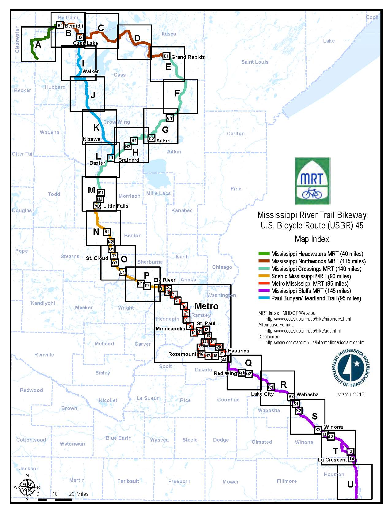 Mississippi River Trail Maps Bicycling Mndot - Minnesota-in-us-map