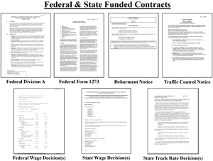 Layout of federal and state funded only contract documents