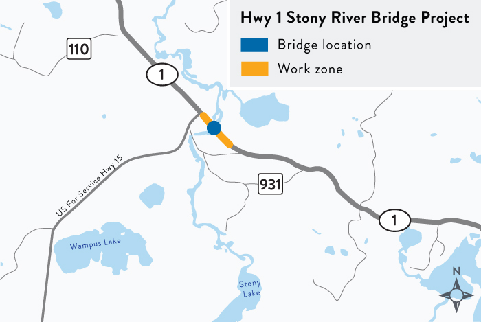 Map of the location of the Hwy 1 Stony River bridge project