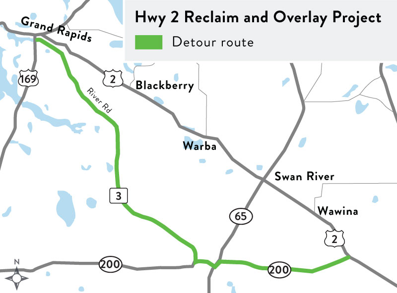 A rendering of the Hwy 2 reclaim project detour.
