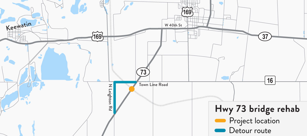 Map showing detour route for Hwy 73 bridge rehab