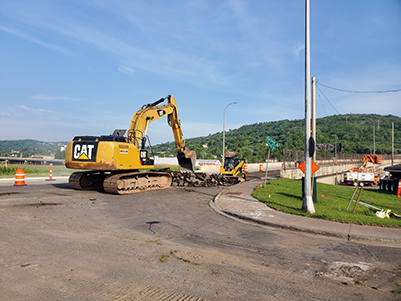 Earlier this summer (2019), crews completed work at the corner of Railroad Street and Garfield Avenue in anticipation of the Twin Ports Interchange project.