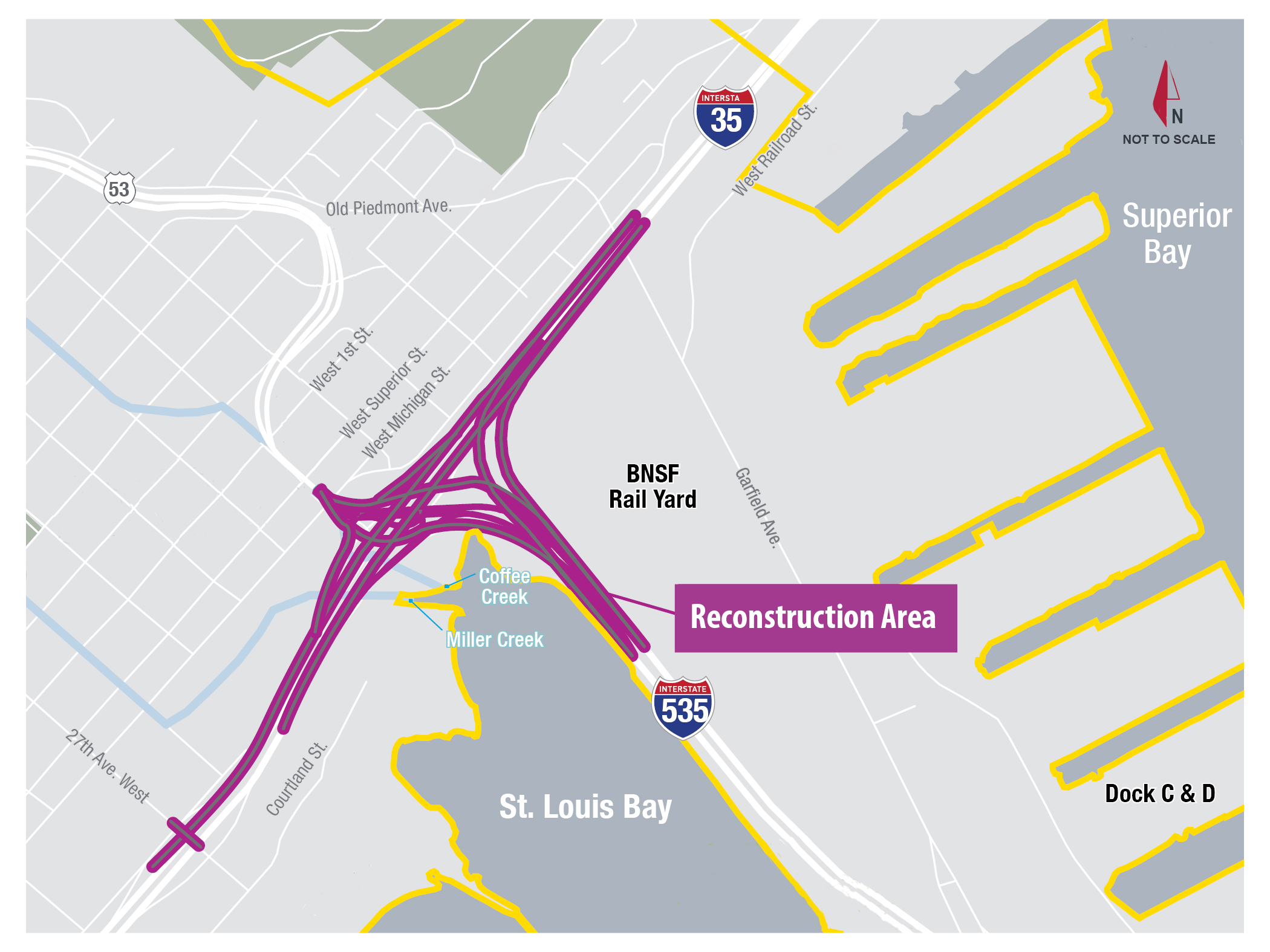 This map shows the location of Twin Ports Interchange improvements in Duluth, which include the reconstruction of the I-35/I-535/Hwy 53 interchange.