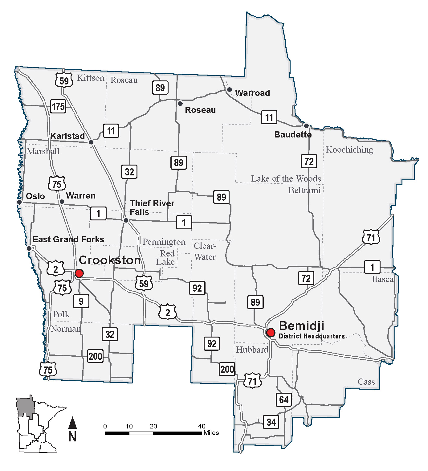 map of mndot district  covering northwest minnesota. northwest minnesota district