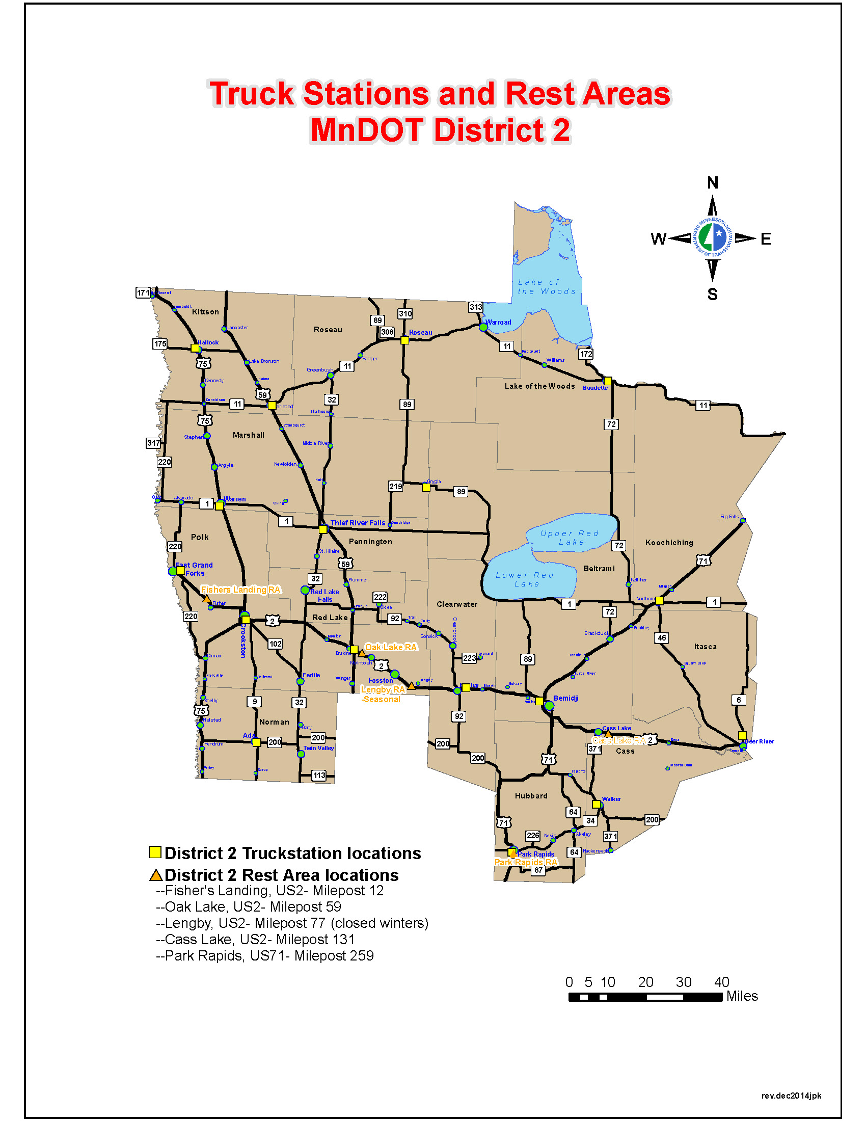 Map of MnDOT District 2, covering Northwest Minnesota.