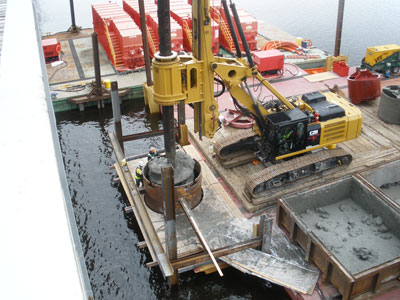 Drilling a footing shaft