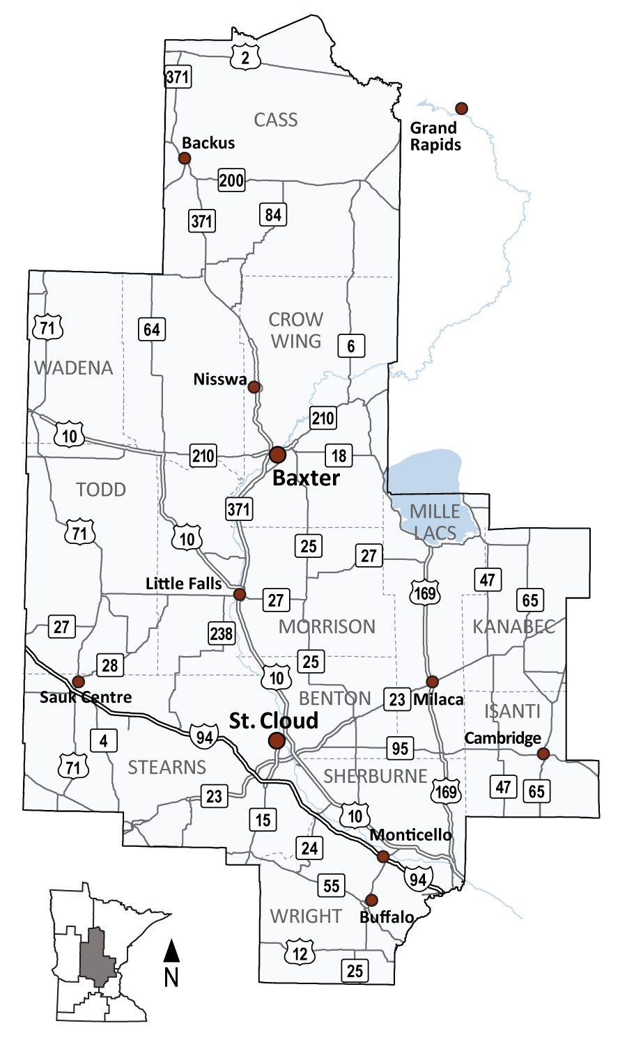 Map Of Mndot District 3 Covering Central Minnesota