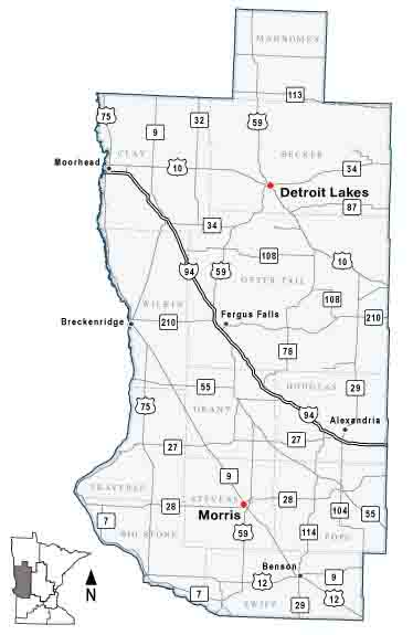Map of MnDOT District 4, covering West Central Minnesota.