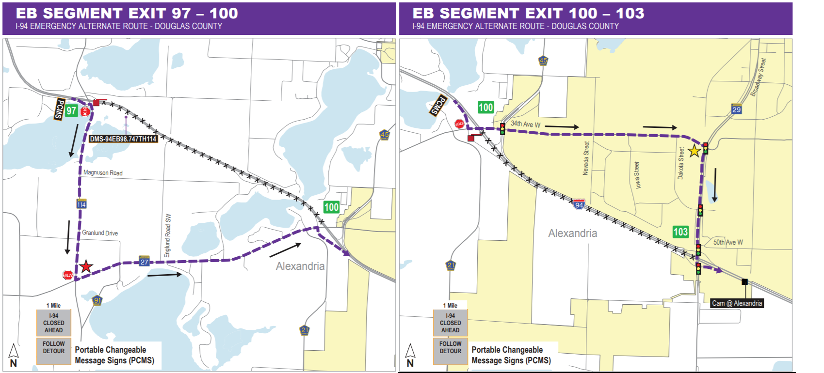 Map of eastbound alternative route for the I-94 emergency repairs