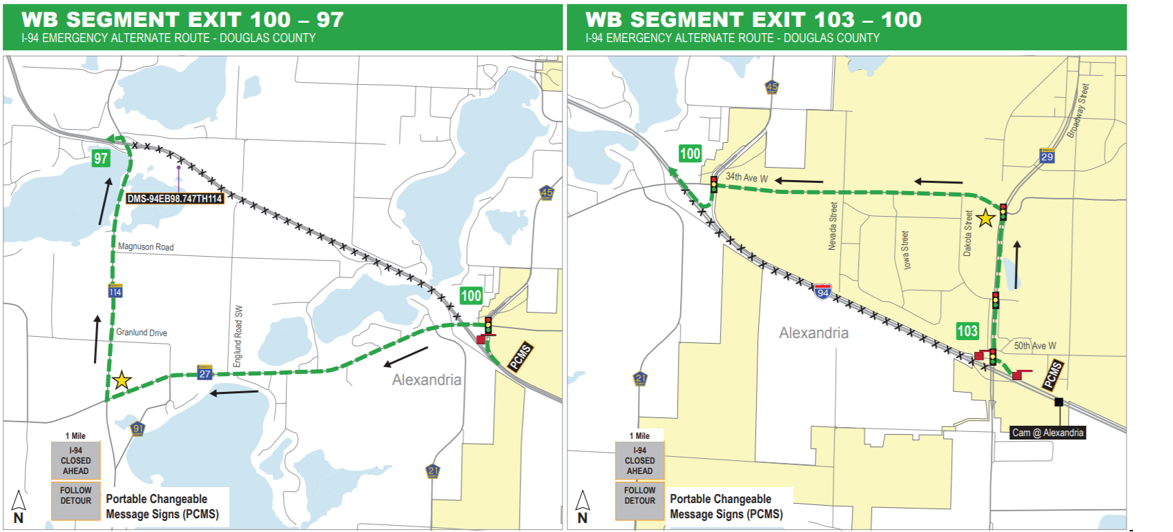 Map of westbound alternative route for the I-94 emergency repairs