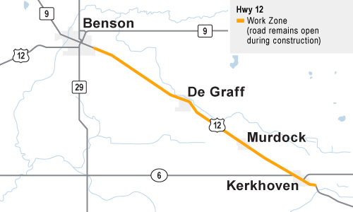Hwy 12 Resurfacing Project - MnDOT Map Of Kerkhoven Mn on map of hutchinson mn, map of lakeville mn, map of long prairie mn, map of jacobson mn, map of forest lake mn, map of lake bronson mn, map of glenville mn, map of graceville mn, map of grand meadow mn, map of minnesota city mn, map of inver grove heights mn, map of starbuck mn, map of little falls mn, map of aitkin mn, map of cold spring mn, map of jasper mn, map of holloway mn, map of sauk centre mn, map of littlefork mn, map of isabella mn,