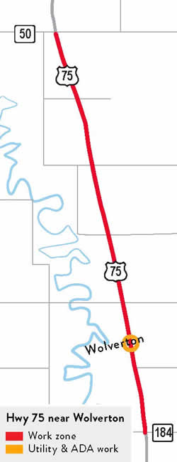 Hwy 75 project map. Work zone starts at Co Rd 184 and continues to the Wilkin/Clay County Line. Storm sewer repair and accessibility improvements within the city of Wolverton.