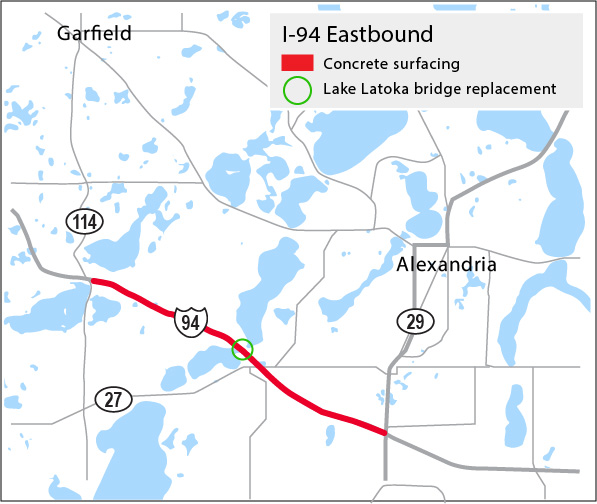 Map of the project limits of the concrete resurfacing and bridge replacement over Lake Latoka on eastbound Interstate 94 between Highway 114 to Highway 29, Garfield to Alexandria