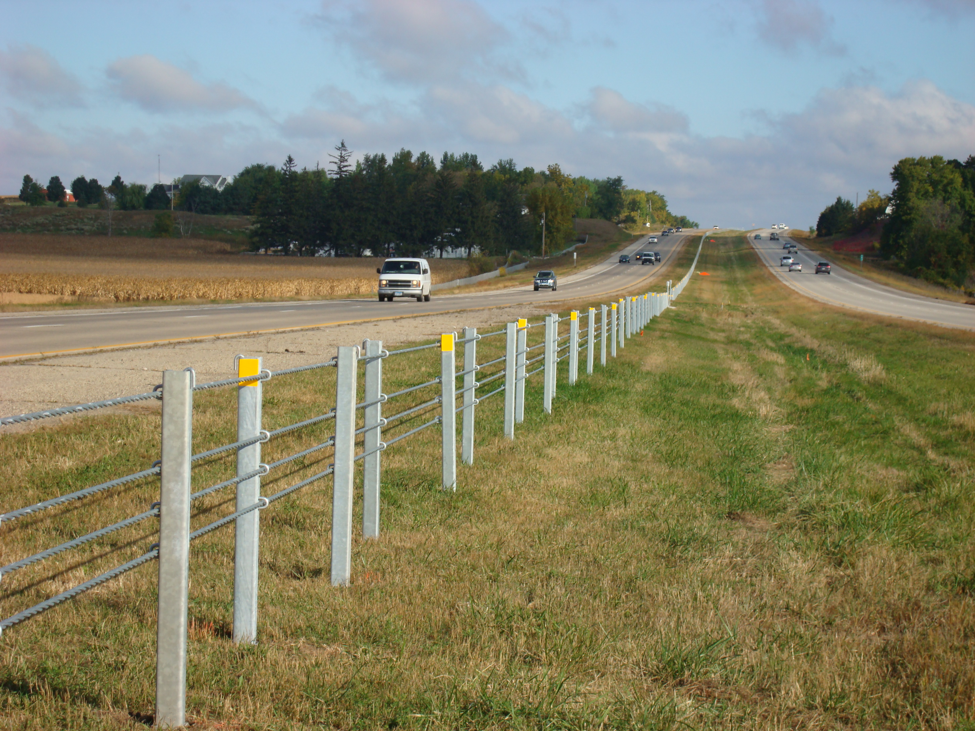 Median Cable Guardrail installed on Highway 52