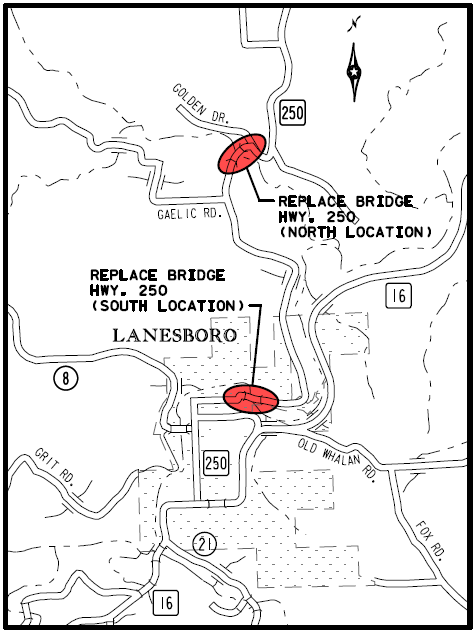 bridge replacement location map