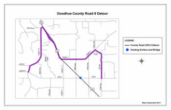 Detour map for County Road 9
