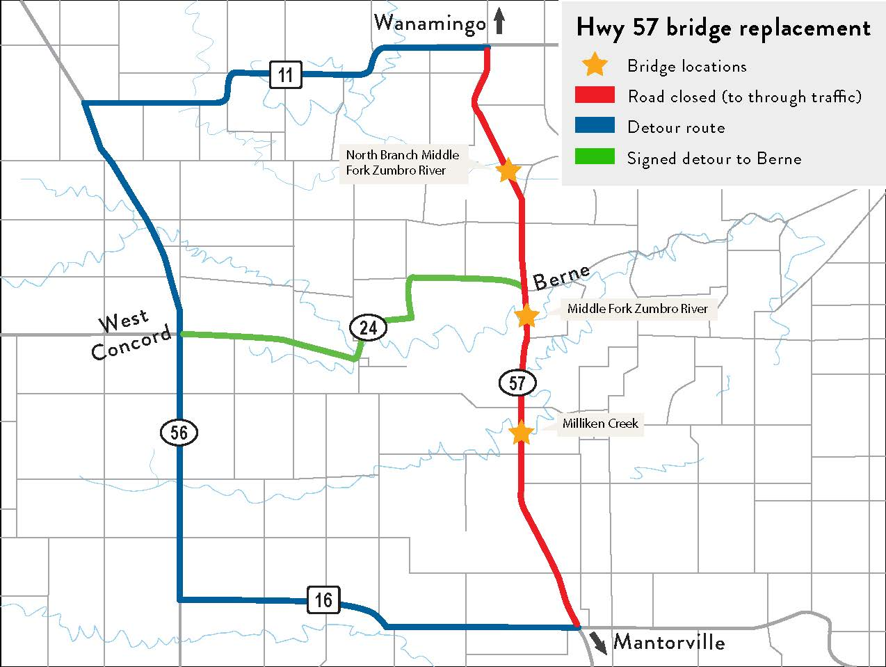 Highway 57 Bridge Replacement Map