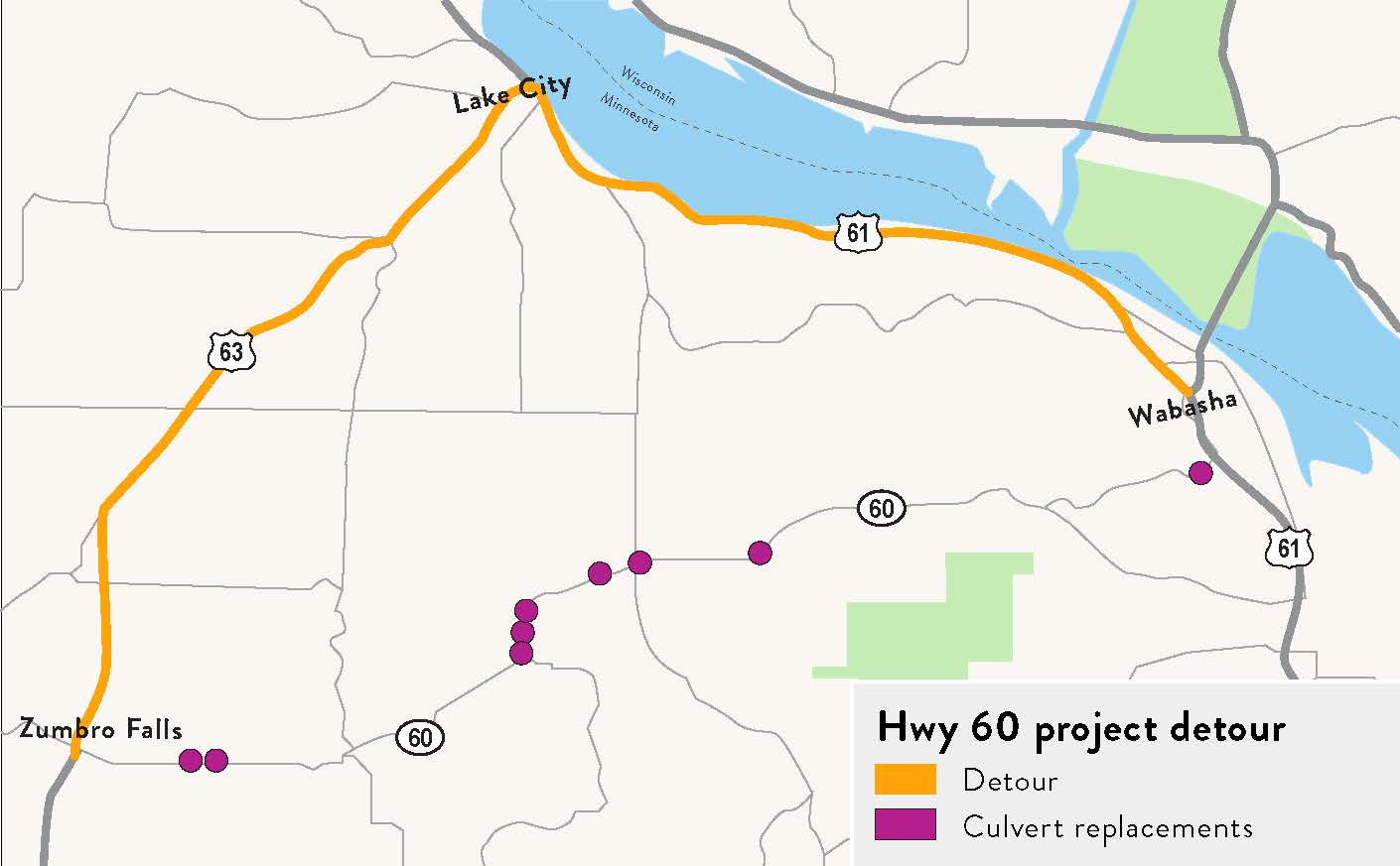 Hwy 60 project map showing where culverts will be replaced and the detour