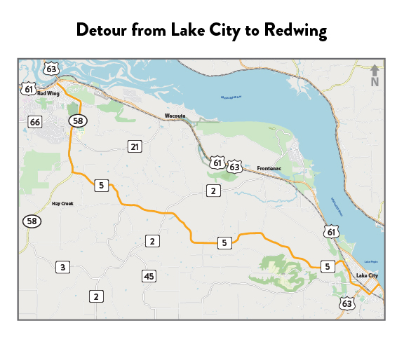 Map of the detour route from Lake City to Redwing