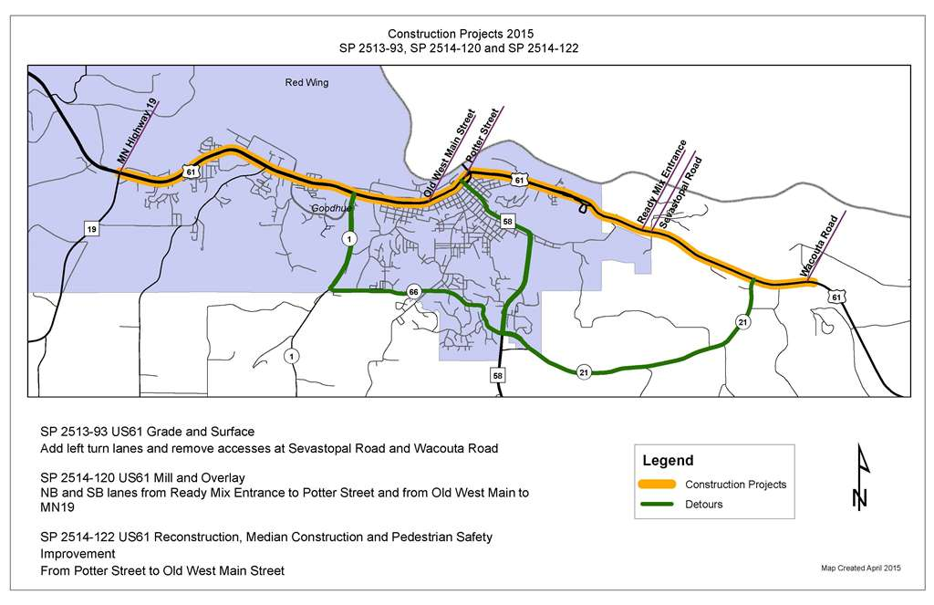 Hwy Red Wing Projects MnDOT - Us highway 61 map