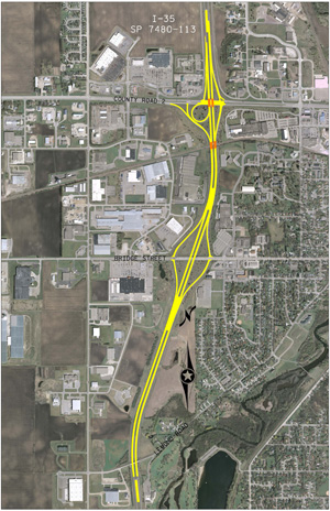 I-35 Bridge replacement project layout