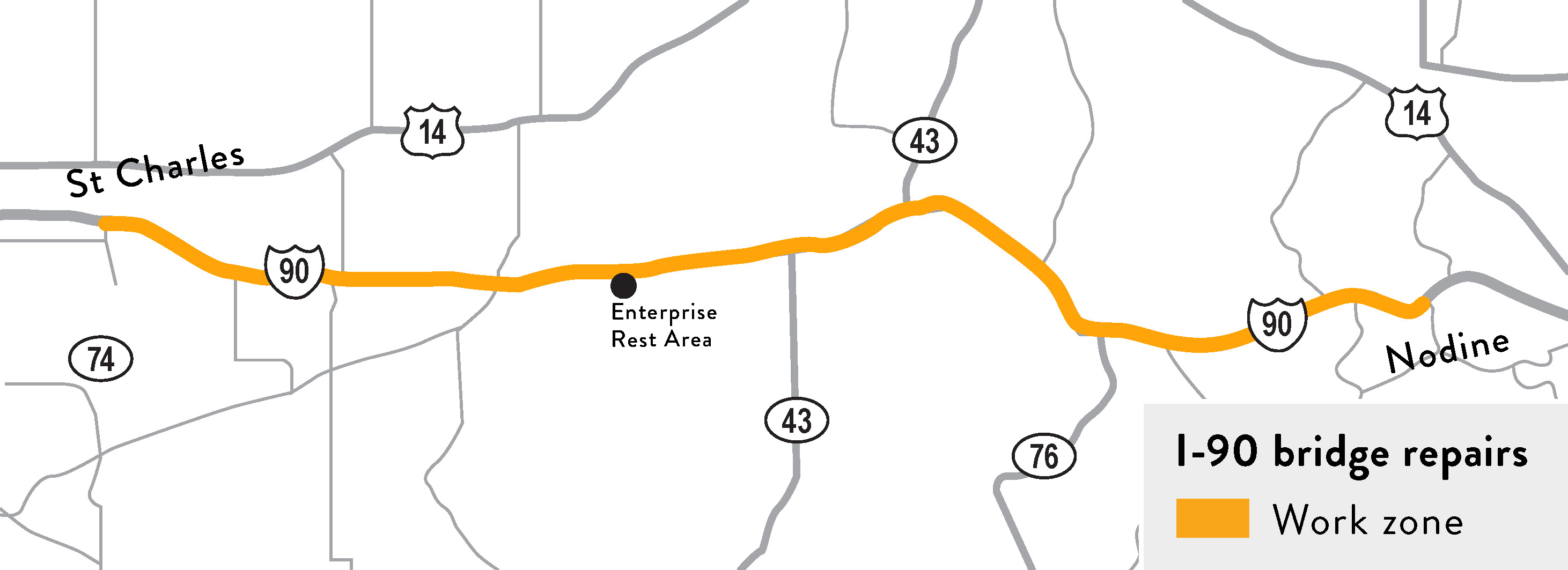 I-90 bridge repair project map