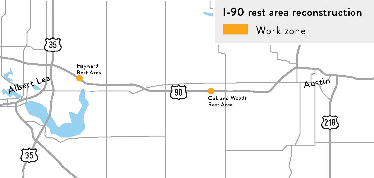 I-90 Rest Areas reconstruction map
