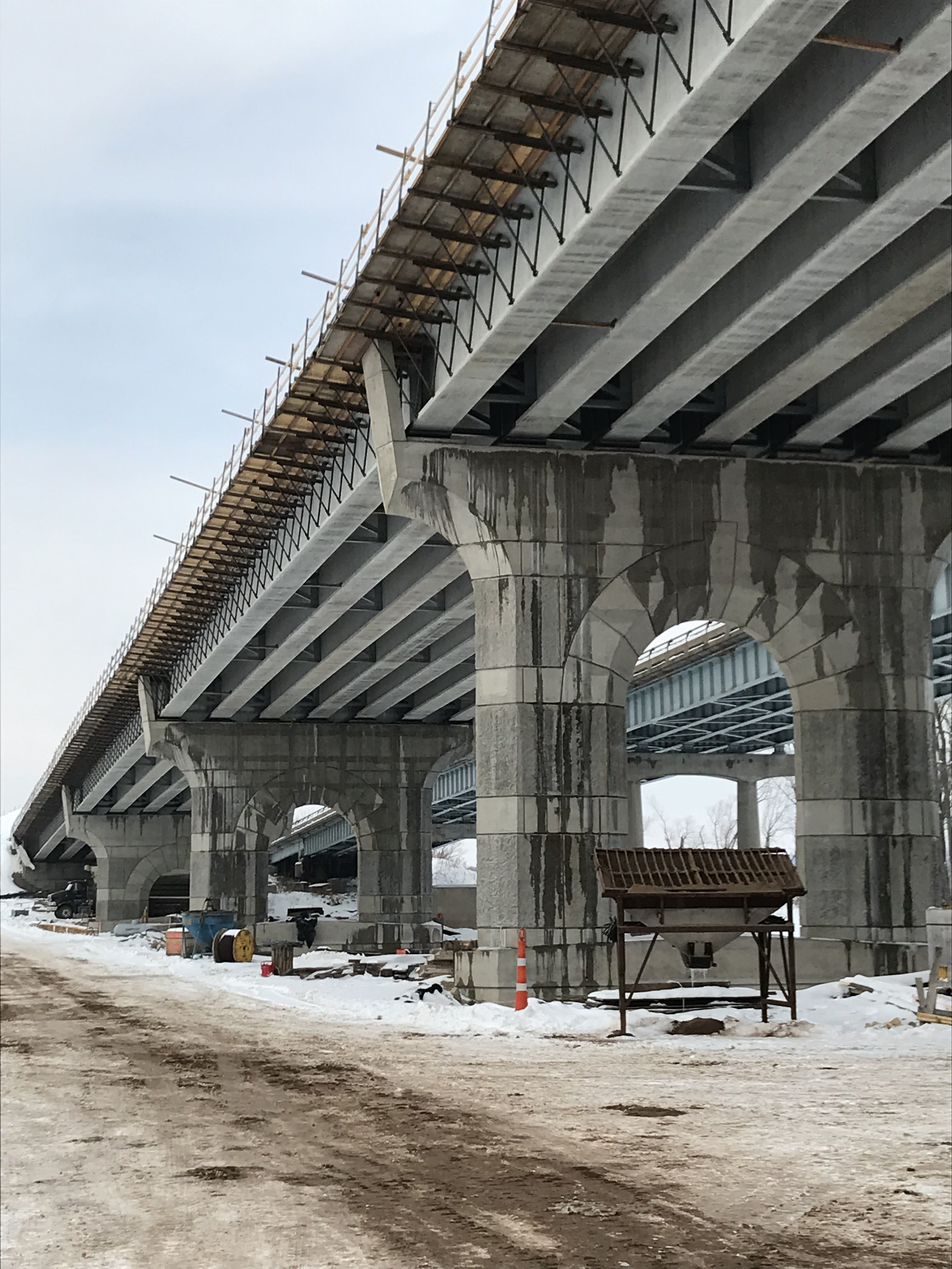 View of the new bridge piers looking toward Wisconsin in February 2019.