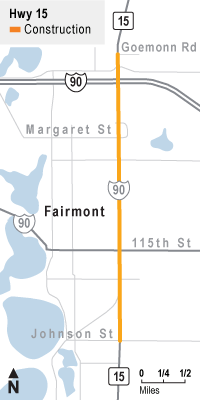 Hwy 15 project location in Fairmont, between Goemonn Rd and Johnson St.