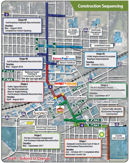 A construction sequencing map of the Hwy 4 project.