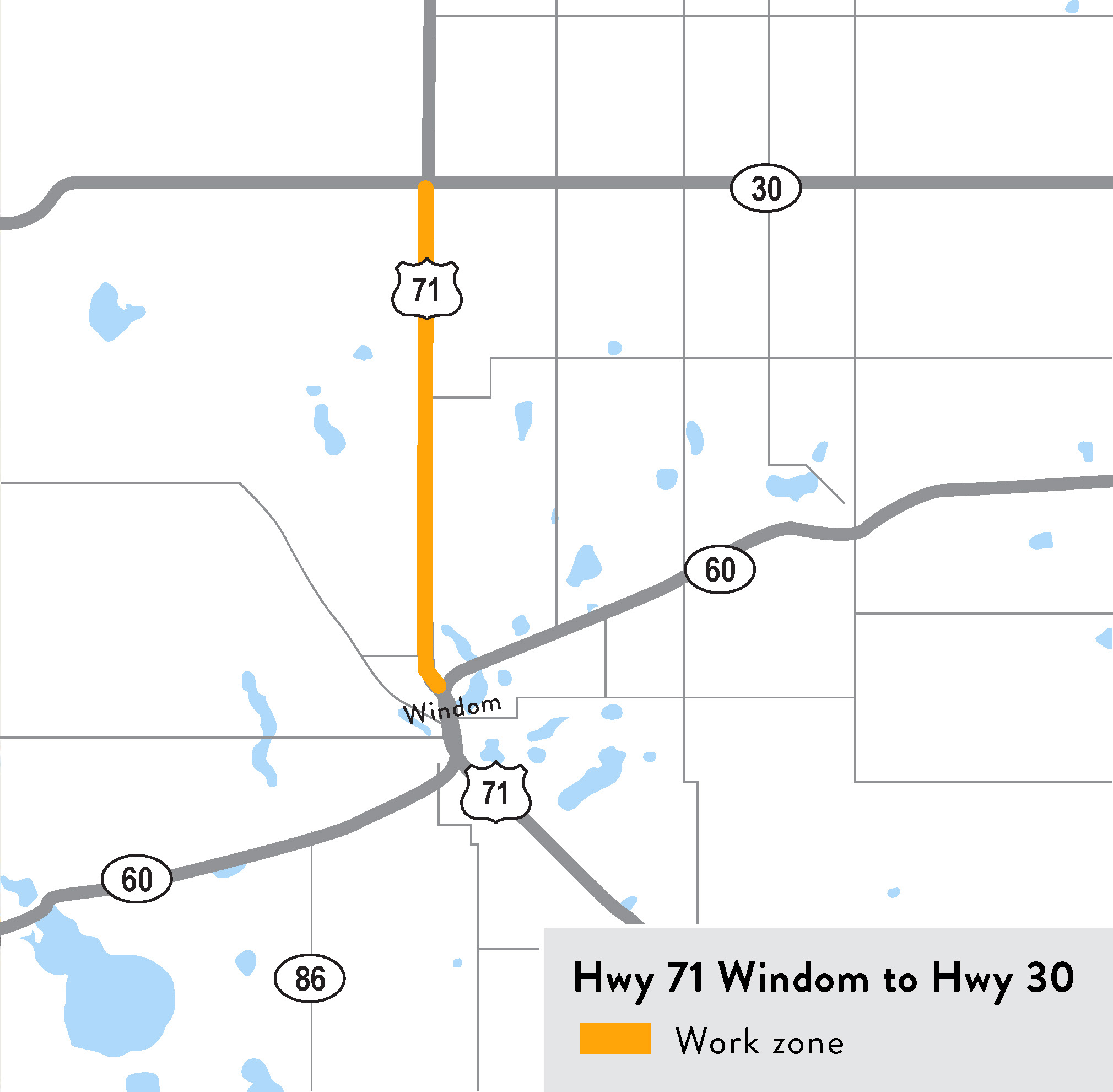 Hwy 71 Windom to Hwy 30 map