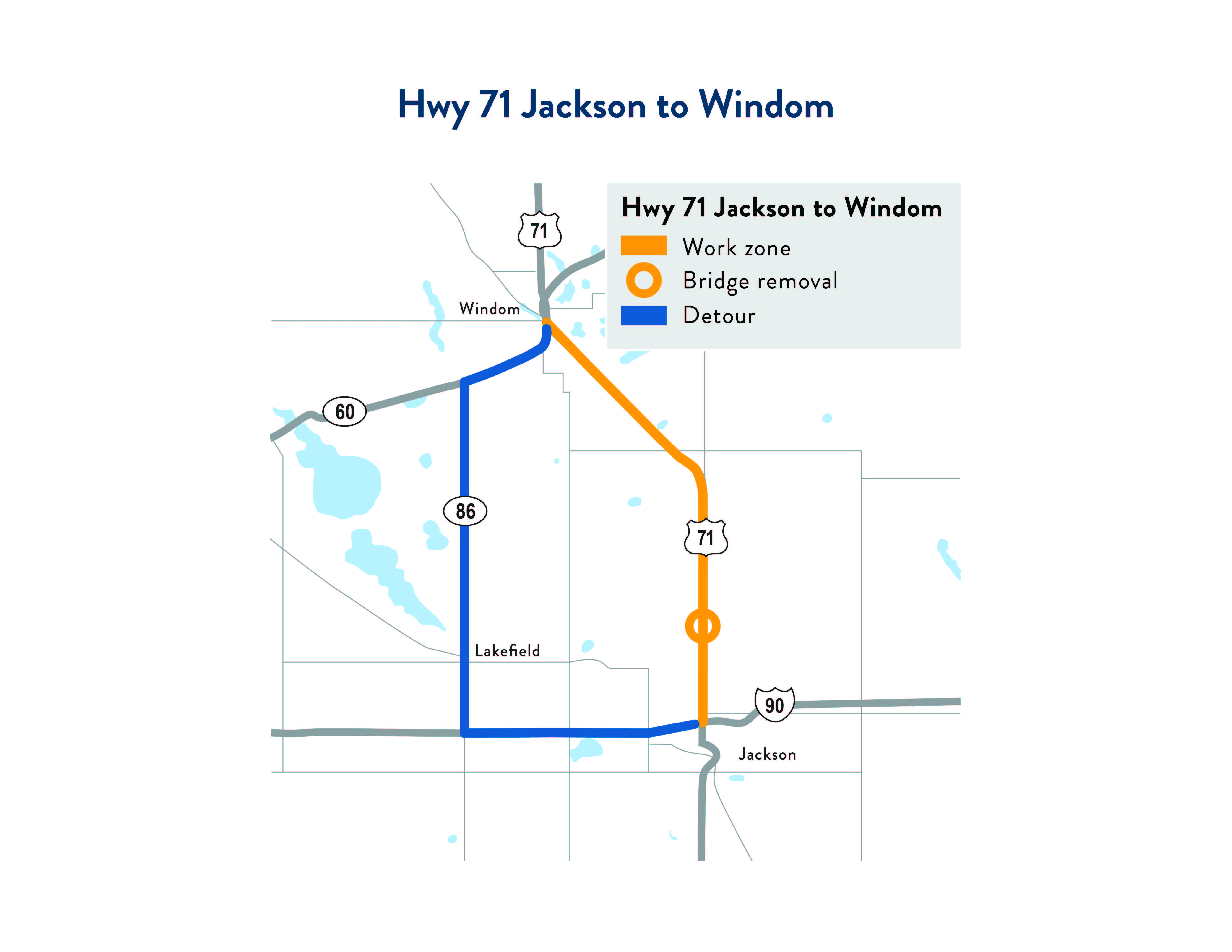 Hwy 71 Jackson to Windom map