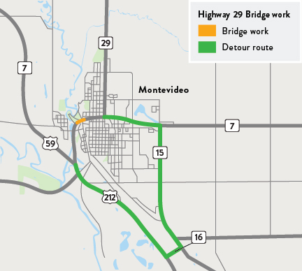 Map of Hwy 29 bridge  and detour route in Montevideo