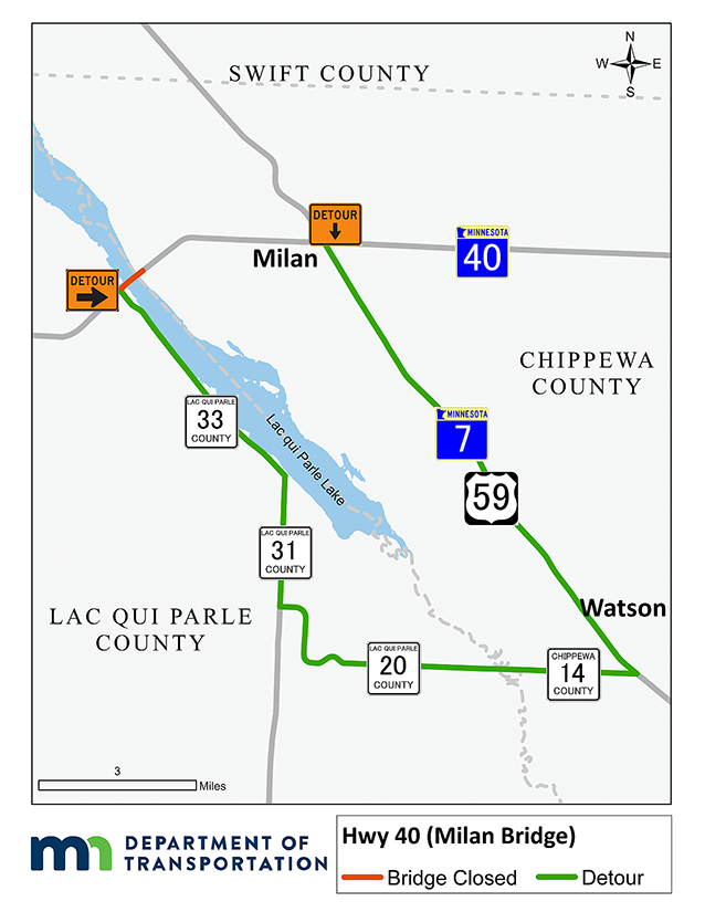 Mn Highway Map, Project Detour Hwy 40 Milan Bridge Detour Route Uses Hwy 7 59 To Chippewa Cr 14, Mn Highway Map