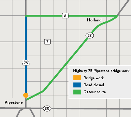 Map of Hwy 75 bridge over Pipestone Creek and detour route