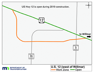 map of Hwy 12 showing road open during 2019 and work zone of realignment of Hwy 12