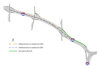 I-35E Cayuga improvement project location map