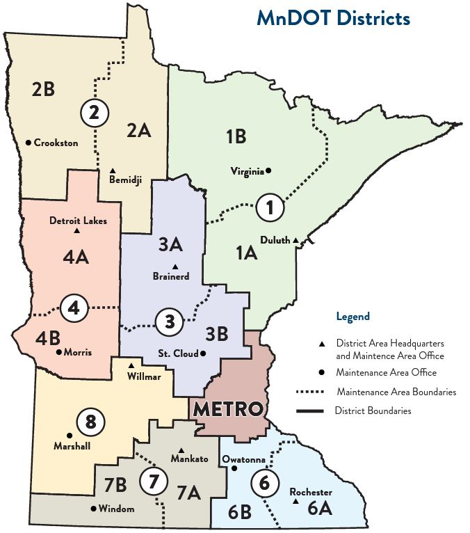 Map of MnDOT districts.