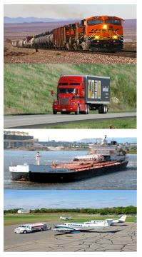 Collage featuring a train, a truck, a barge and an airplane.