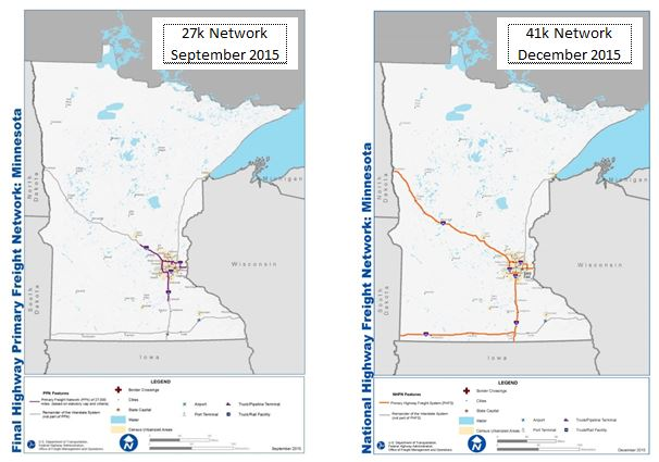 Comparison maps of the primary highway freight system. showing its expansion in Minnesota by approximately 14,000 miles in 2015.