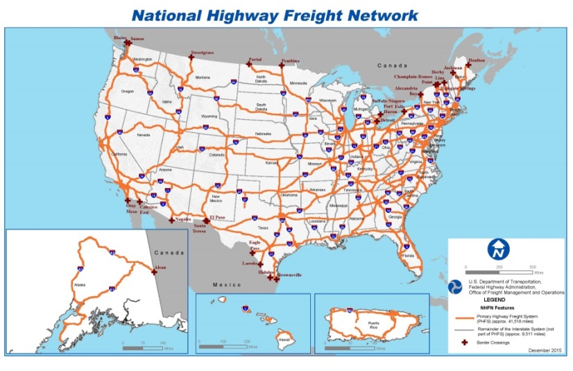 A map of the National Highway Freight Network.