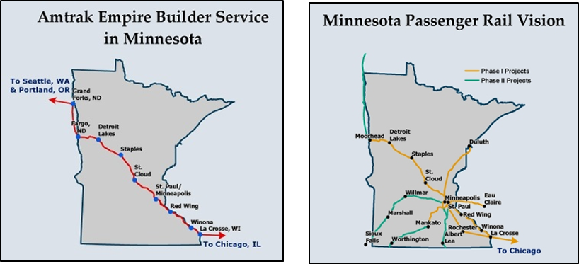 Map showing Amtrak Empire Builder Service in Minnesota alongside map of expanded passenger rail 'vision' in Minnesota.