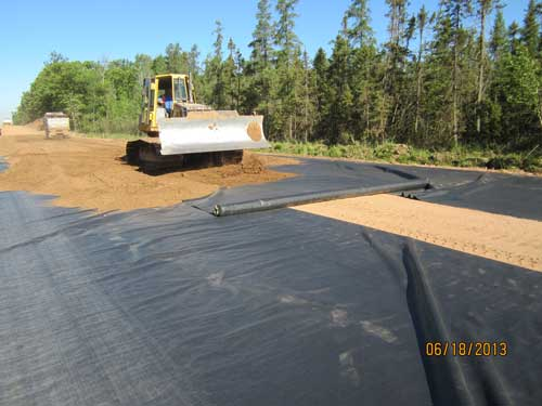 fabric under road during construction