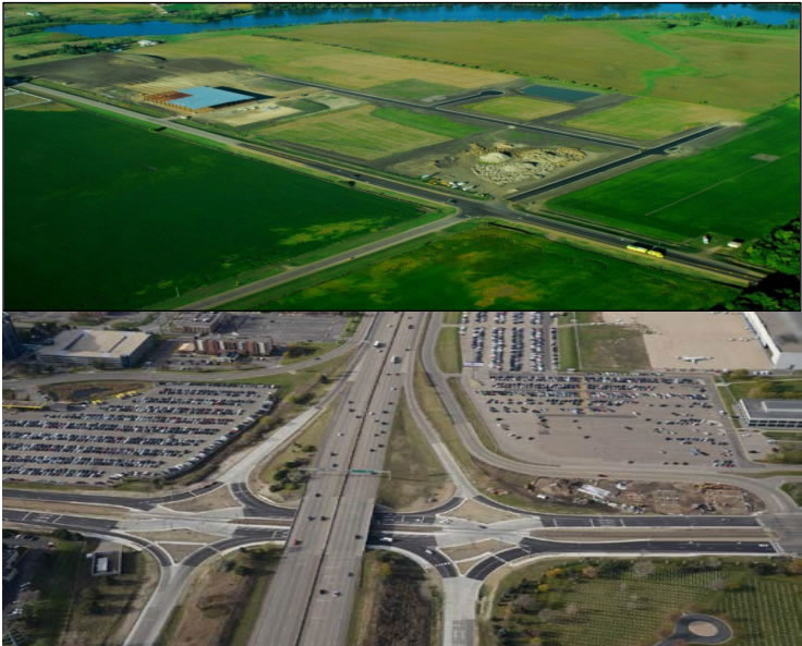 Two photographs of TED projects in various stages of development. The top photo is an ariel image of North Windom Industrial Park. The bottom image is an ariel image of the Bloomington I-494 and 34th Ave. diverging diamond interchange.