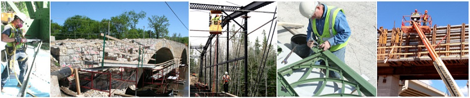 Collage of various stages of multiple bridge rehabiliations.