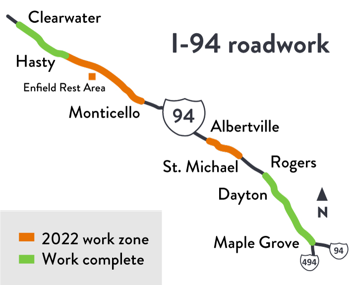 I-94 Maple Grove to Clearwater project location map