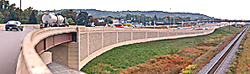Orange barrels on a highway