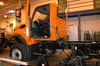 snow plow truck being constructed